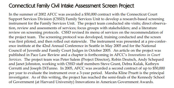 From: 2002-2007 AFCC Five Year Report